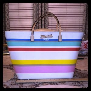 Pastel Stripe Kate Spade Tote Purse Handbag NWOT